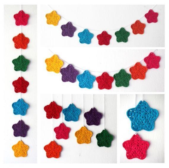 Guirnalda de estrellas a crochet - Adornos - Casa - 72731