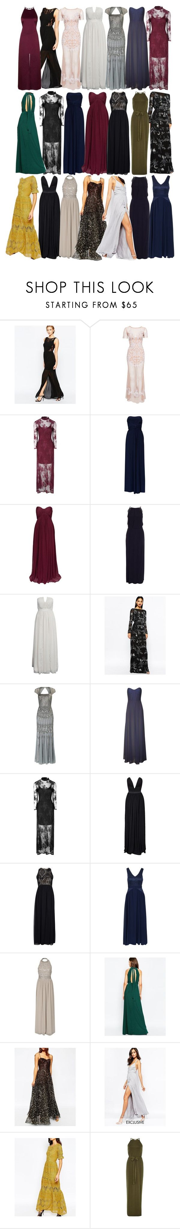 """""""Allison Inspired UK Friendly Gowns"""" by veterization ❤ liked on Polyvore featuring WalG, For Love & Lemons, True Decadence, NLY Eve, Samsøe & Samsøe, Virgos Lounge, Adrianna Papell, Rare London, John Zack and Sisters Point"""