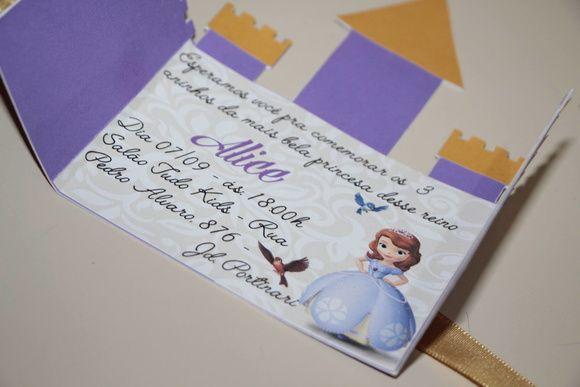 Convite Castelo Princesa Sofia Convite personalizado formato castelo, para tema da Princesa Sofia! Convite para aniversario de menina, tema princesa sofia! Convite princesa Sofia!