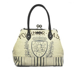 Karen Wilson French Coat of Arms bag in heavy woven linen and leather. Lovely!