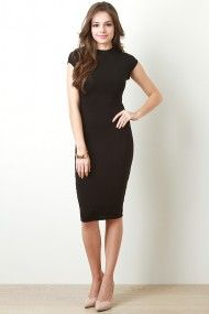 High Neckline Midi Dress