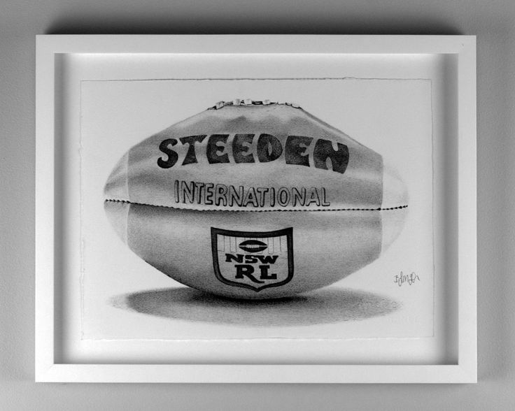 Retro Steeden International Rugby League Ball. Drawn with Fine Liner Pens, By Brenden McDonough