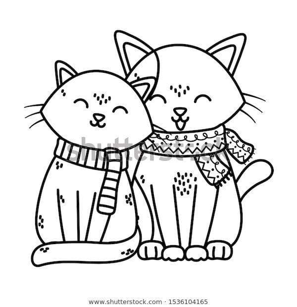 Adorable Cats Scarf Celebration Merry Christmas: стоковые ...