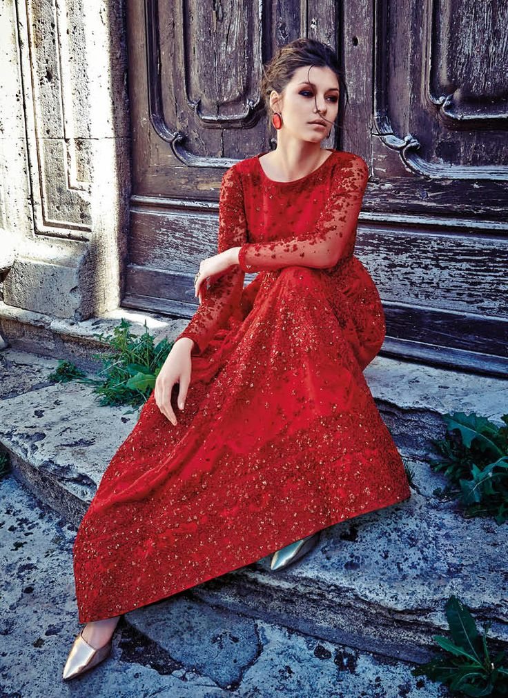 MAJESTIC RED EMBELLISHED GOWN STYLE SUIT