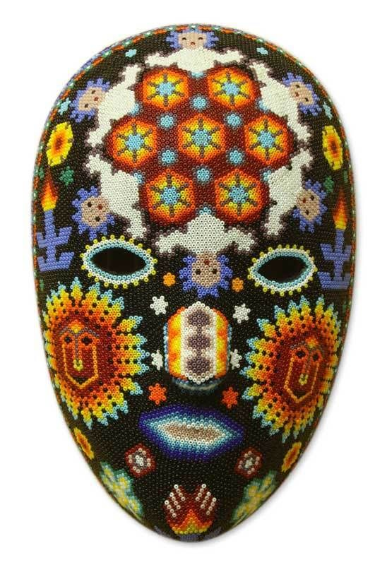 Huichol Beaded Mask Mexican Folk Art Handmade 'Jicuri Dance' NOVICA Mexico