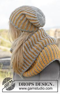 "Knitted DROPS hat and neck warmer with English rib in two colors in ""Nepal"". ~ DROPS Design"