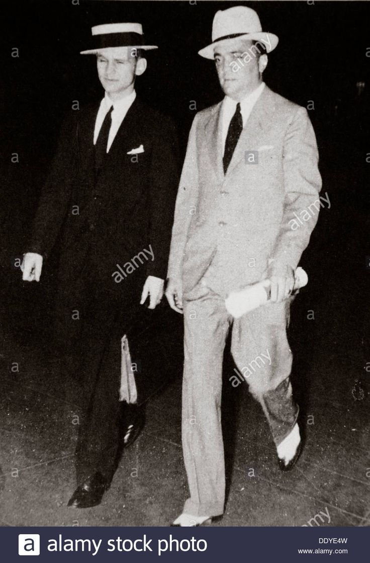 J Edgar Hoover, chief of the FBI, with head of the Chicago office Melvin Purvis, USA, mid 1930s. Artist: Unknown Stock Photo