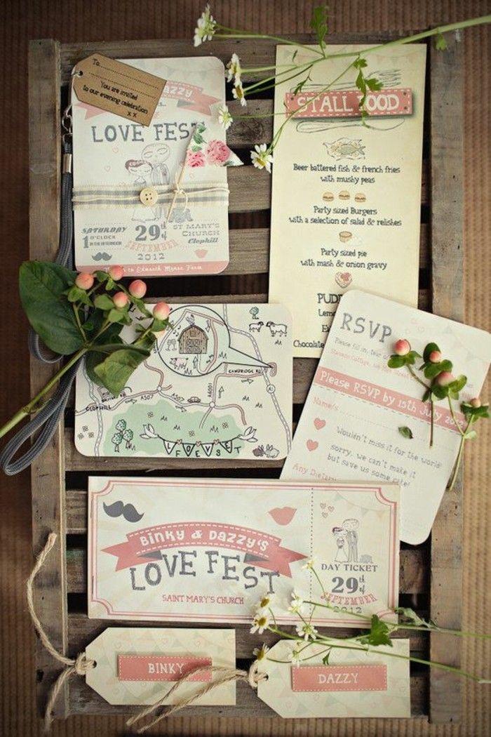 faire part mariage creatif de style champetre avec des fleurs séchés