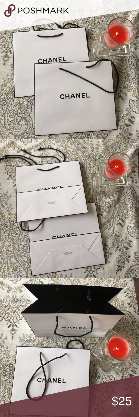 """CHANEL SHOPPING BAGS Selling a set of TWO CHANEL SHOPPING BAGS. Approximate bags size.  9"""" x 10.5"""" x 4.5"""".  Please use the offer feature! CHANEL Bags Totes"""