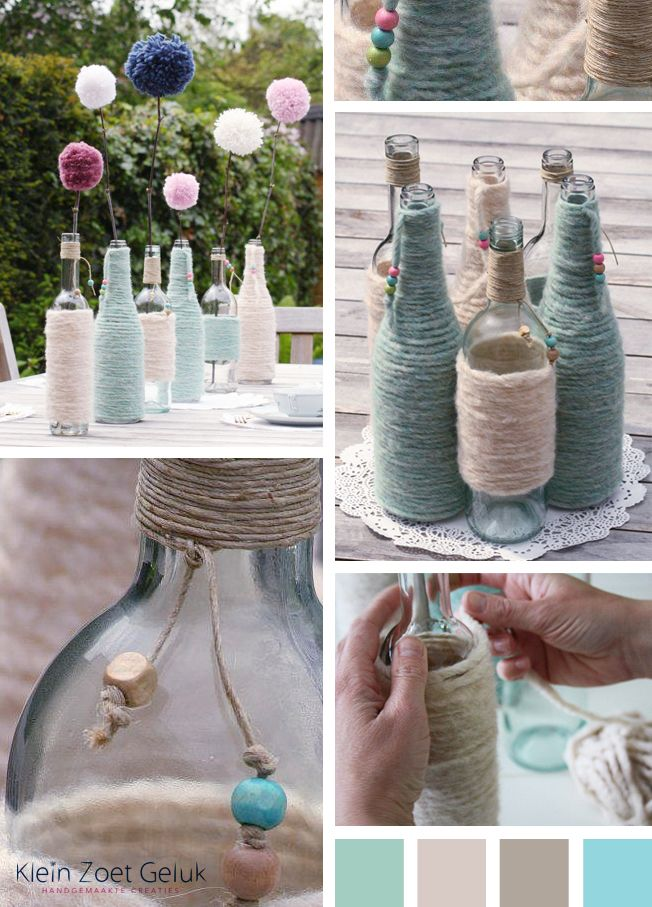 empty bottles + yarn = awesome centerpieces
