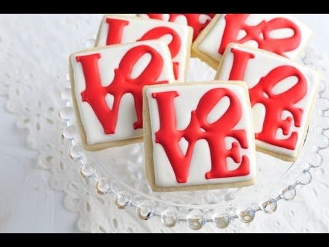 ▶ How To Decorate Love Park Cookies, Royal Icing Transfers - YouTube