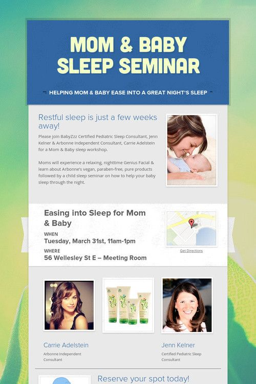 Mom & Baby Sleep Seminar in Toronto - March 31st 2015.