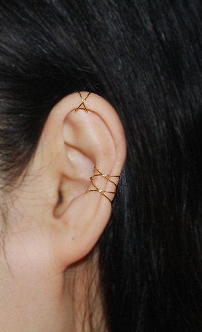 16K gold dipped Twins X ear cuff ,No Piercing Cartilage Ear Cuff, Ear Jacket, Ear Wrap by TakeOnMe7 on Etsy