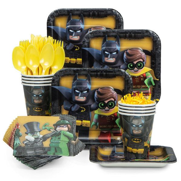Check out Lego Batman Standard Tableware Kit | Lego Batman party supplies from Birthday in a Box from Birthday In A Box