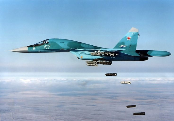 Sukhoi Su-34 Fighter-bomber dropping bombs