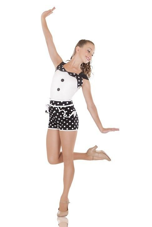 2ab52a8059f2 IN STOCK Modern Candy Black & White Spotty Dance Costume Jazz Short Unitard  | eBay