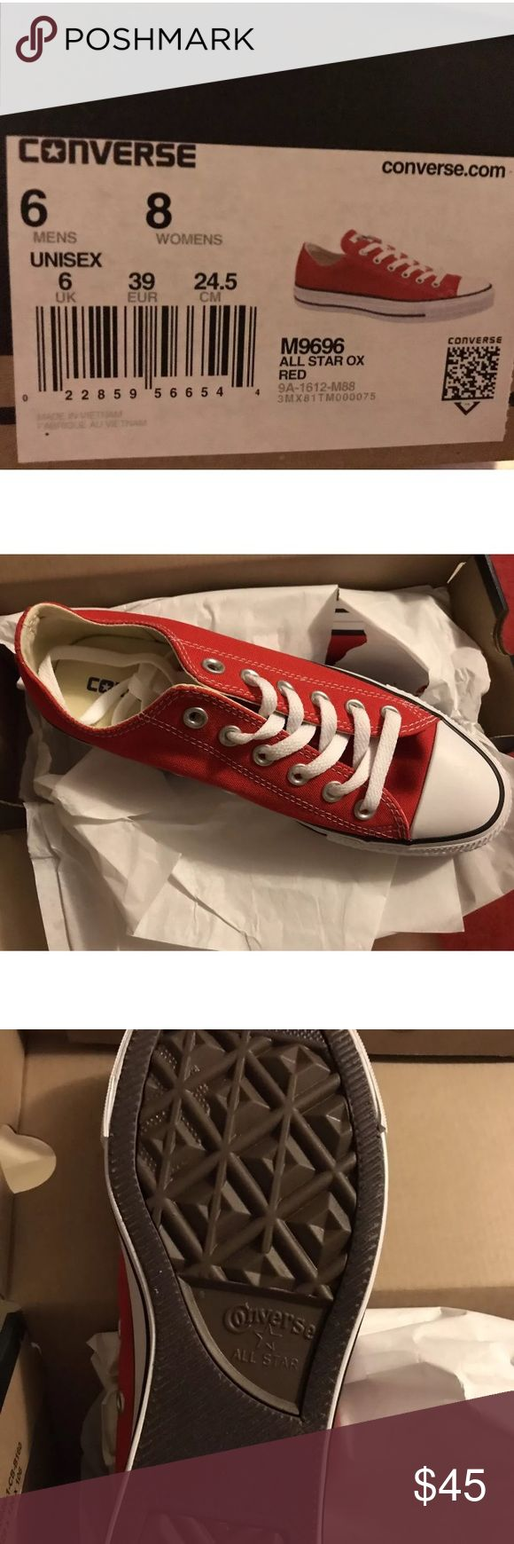 Converse All Star Ox Red Sneakers Sz 8 Women's BN w/o Box Converse All Star Unisex shoes Ox Red- Women's 8 (Men's 6)  Received as a gift and couldn't return them.           No trades please. Thanks for browsing! Shoes Sneakers