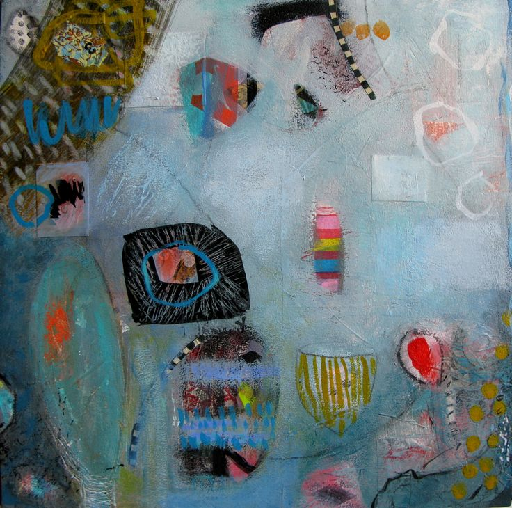 """Reverie in Blue""  SOLD Mixed Media on Board Françoise Barnes"