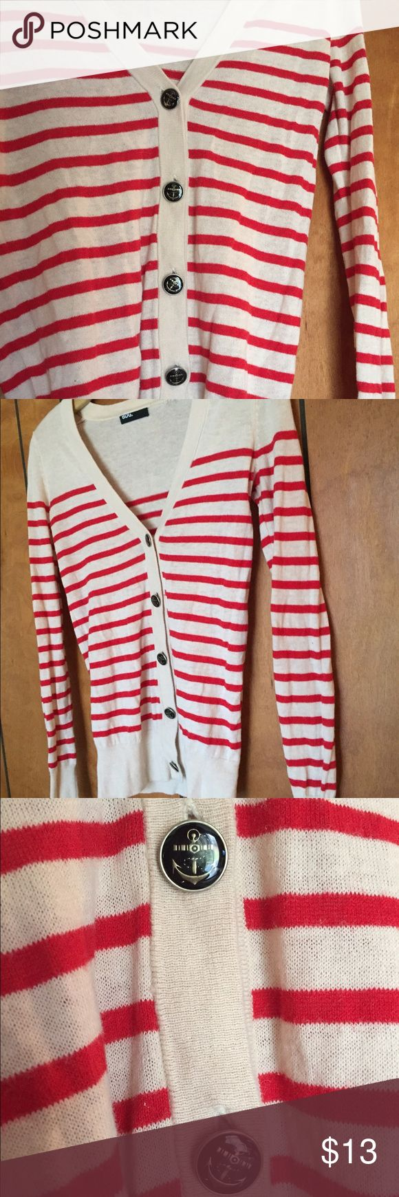 nautical cardigan Lightly worn striped cardigan, with anchor buttons. Has small snag in the back where the tag is (pictured). BDG Sweaters Cardigans