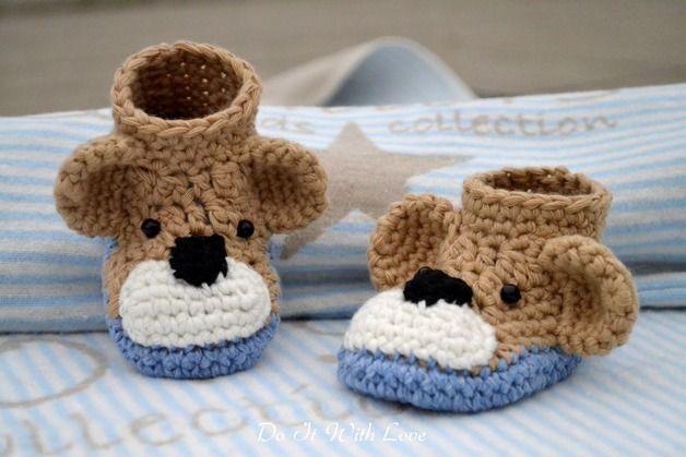 Häkelanleitung für ein Babyschuhe und Mütze mit niedlichem Teddybär / diy crochet instruction: cute baby set, beanie and shoes, little bear by DIWL-DO-IT-WITH-LOVE via DaWanda.com