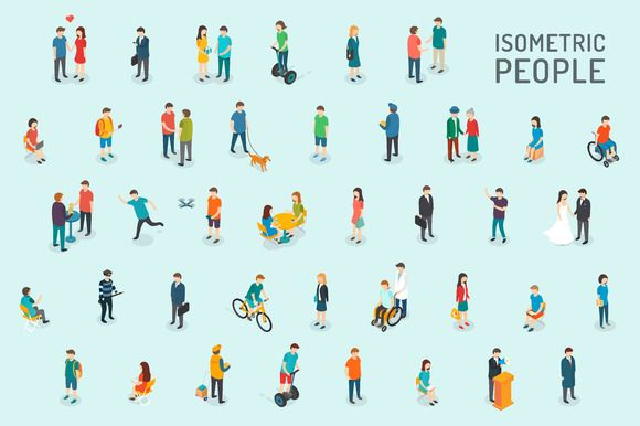 Isometric People Set by Antikwar on @creativemarket