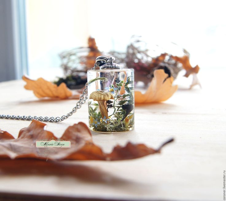 Купить или заказать Кулон-цилиндр 28 мм 'Forest soul' из ювелирной смолы в интернет-магазине на Ярмарке Мастеров. Необычный по форме и содержанию кулон-цилиндр 28 мм в длину с лесной композицией внутри, собравшей в себя дух леса! Размеры: длина 28 мм, диаметр окружности 21 мм. Композиция состоит из настоящих грибов двух видов: светлого (бежевый) и темно-коричневого. Грибы дополняют лесные незабудки голубого цвета, веточки сочной зелени, ягель, мелкие желтые полевые цветочки.