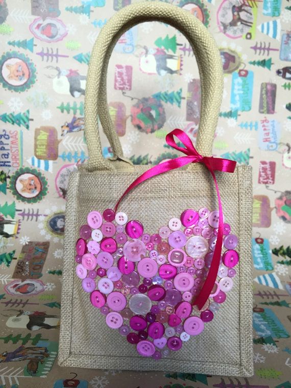 Mini Jute/Hessian Gift Bag  Pink Buttons by OscarandtheBear