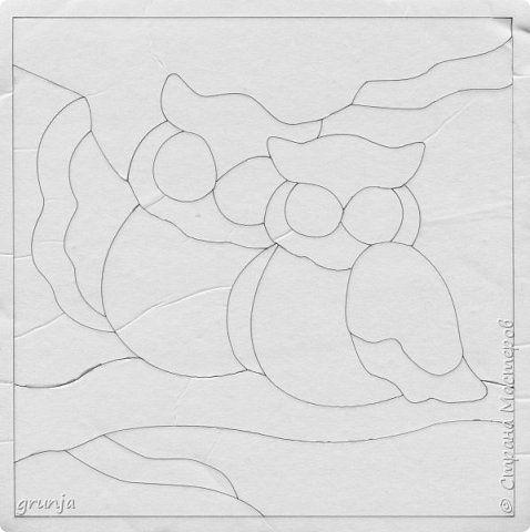 Картина панно рисунок Кинусайга Ключница Совушки в технике кинусайга Клей Пенопласт Ткань фото 2
