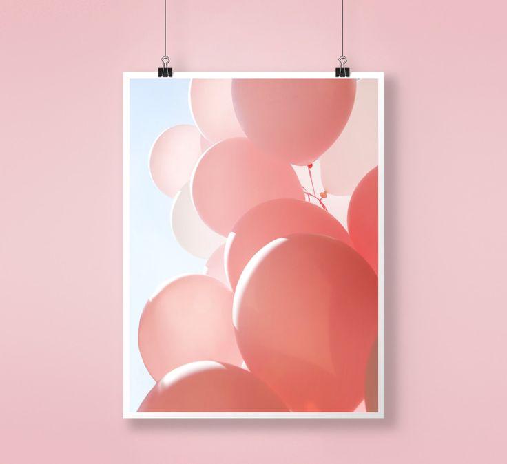Pink Balloons, Fun colorful, Wall Decor, Nursery Art, Abstract Large Printable Poster, Digital Print, Modern, Minimalist, Color Photography by PrintingDots on Etsy