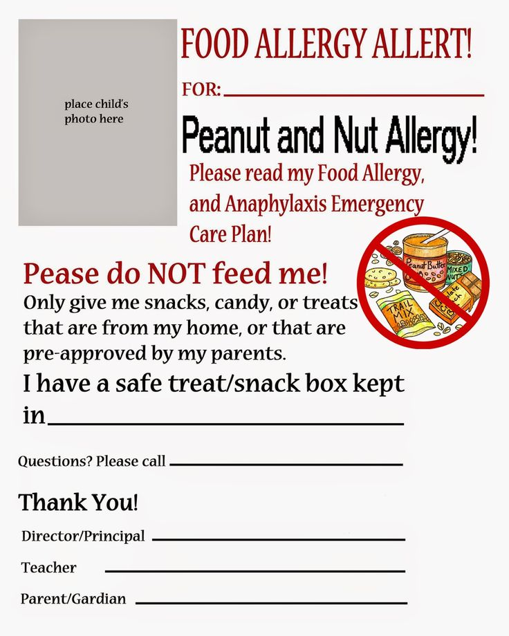 Thriving With Allergies: Food Allergy Alert Daycare/School Handouts and Pos...