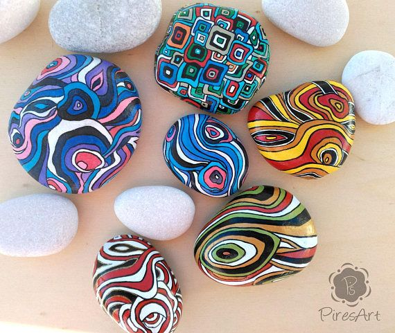 Painted stone, psychedelic painted rock, relaxing painted stone, squares painted rock, geometric painting stone, original art paperweight Two both painted sides stone! Singular painted stone, with brush and totally by hand. It is painted with acrylic and varnished with glossy varnish. It
