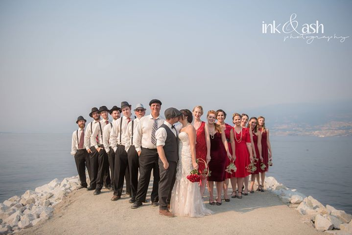 Outdoor shot of wedding party. Photo by Ink and Ash Photography