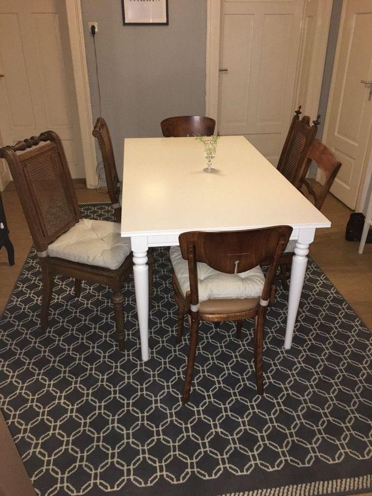 Ich Verkaufe Hier Eine Kombination Aus Dem Ikea Ingatorp Esstisch, 6  Schönen Antiken Stühlen In