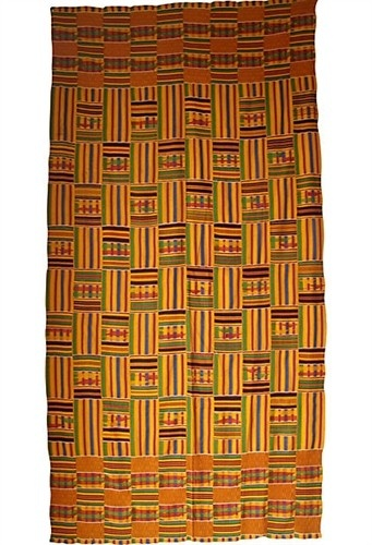 Africa | Vintage Kente.  Kente is a ceremonial cloth handwoven on a horizontal treadle loom. The stripes are sewn together into larger pieces, taking from several weeks to months for a weaver to complete.