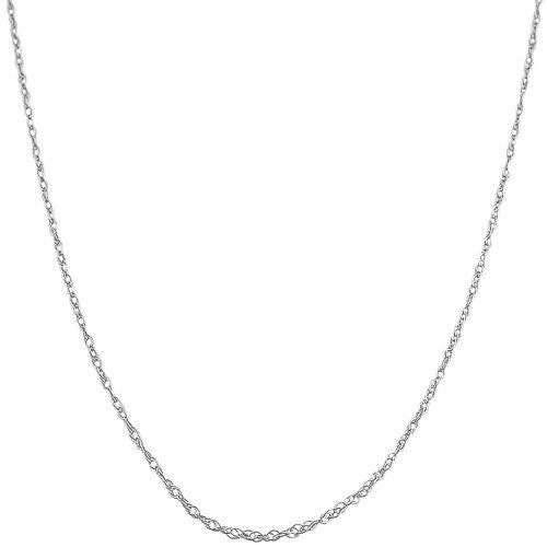 14 Karat White Gold 0.8-mm Loose Rope Chain (18 Inch) Kooljewelry. Save 67 Off!. $33.99. Classic rope chain makes a simple basic casual necklace; Crafted in white gold; Comes with a comfortable spring ring closure; Weighs 0.5 gram(s); An essential piece by itself or combined with your favorite pendant