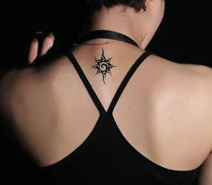 Upper Back Small Tribal Sun Tattoo for Women