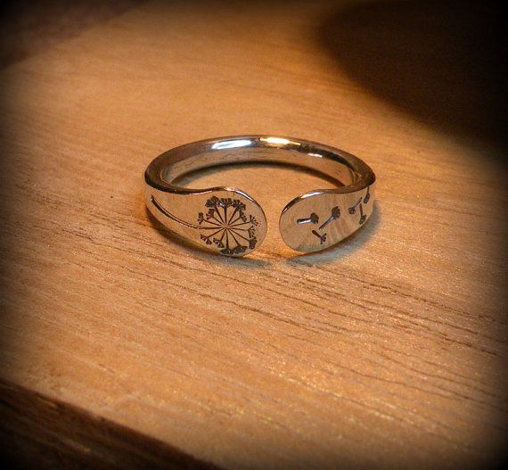 Dandelion ring stamped forged sterling silver by DesignsByDomino, $34.00