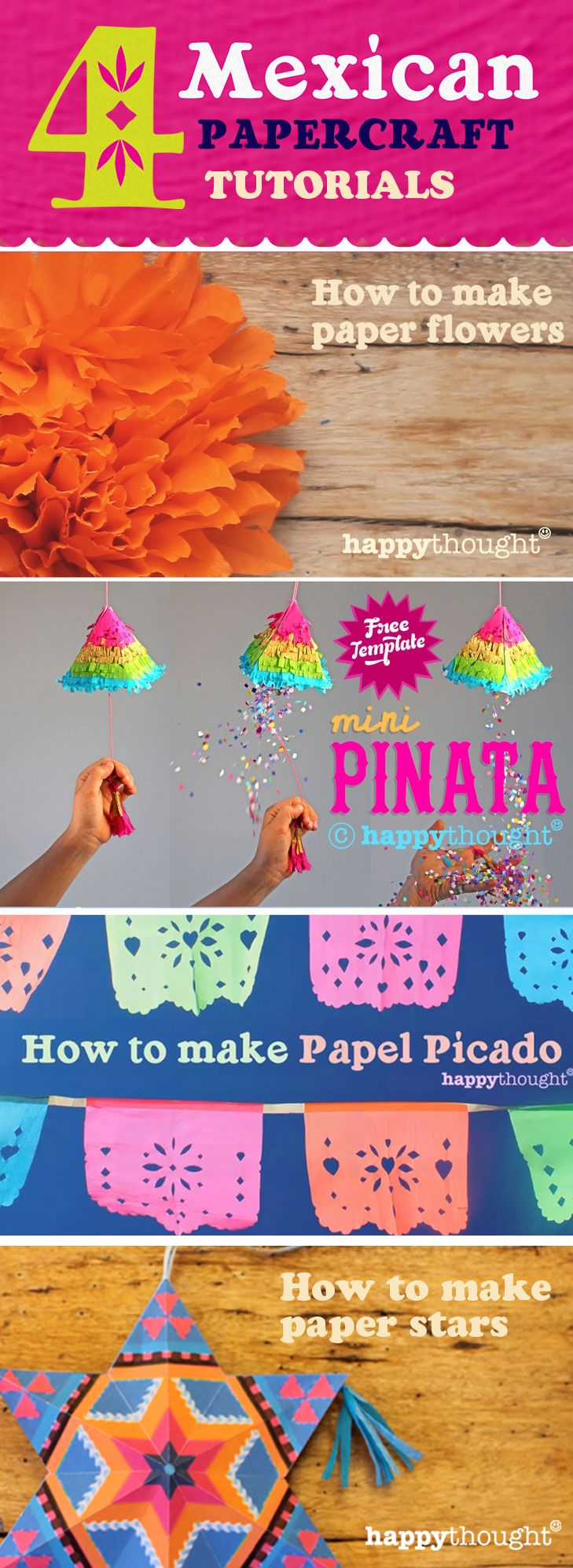 4 Mexican paper crafts for Day of the Dead decorations: Simple and fun craft tutorials inspired by Mexican Artisan paper decorations: Pinatas, paper stars, papel picado and paper flowers! https://happythought.co.uk/mexican-paper-craft-decorations #mexicancrafts #papelpicado #paperflowers #dayofthedead