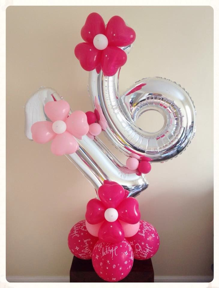 Birthday balloon 16 created by www.balloonblooms.co.uk