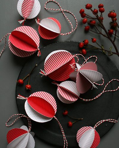 Paper Christmas Decorations, can be made from recycled Christmas cards