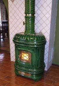 Green ceramic fireplace