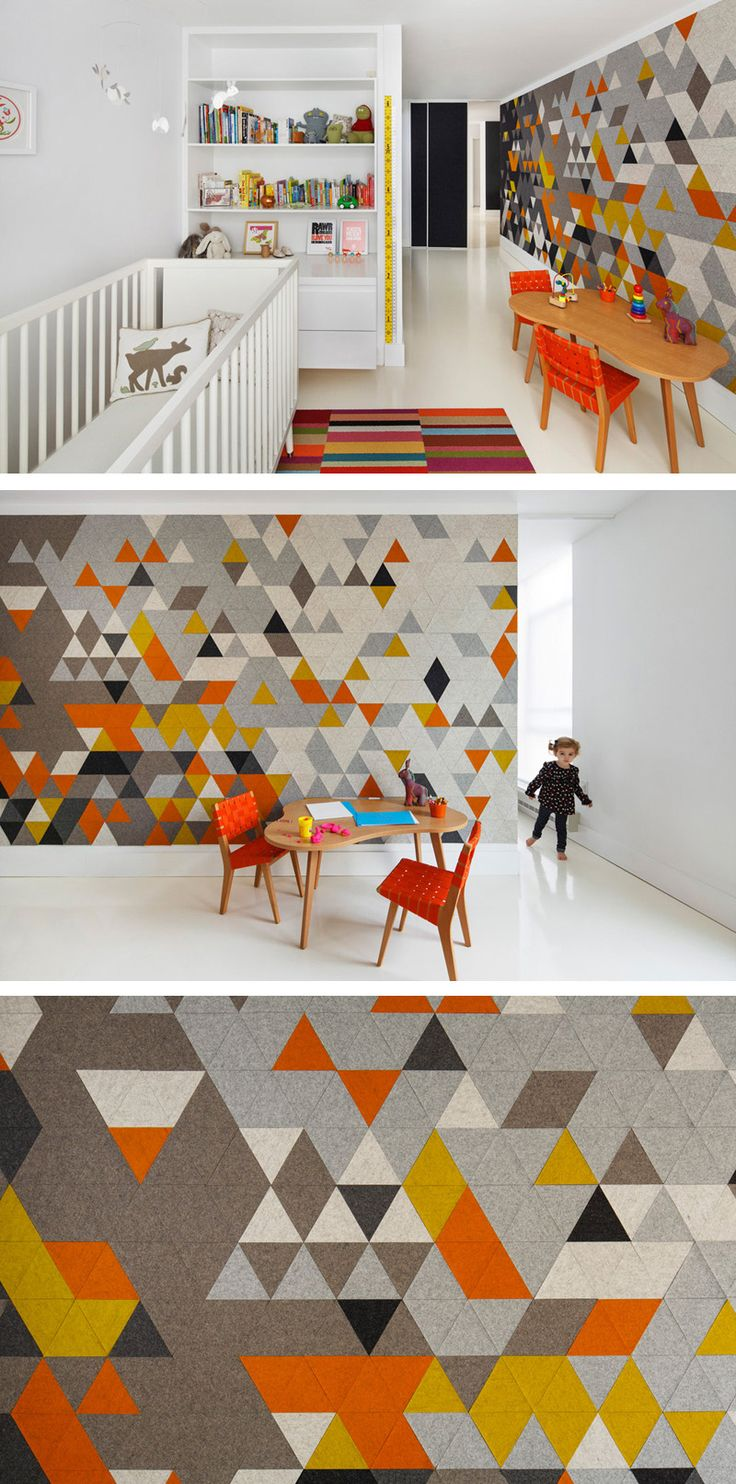 This home features an experimental felt installation, made of multi-colored triangular pieces that add a burst of color to the Mies-ian wall separating the children's bedroom and the living room.