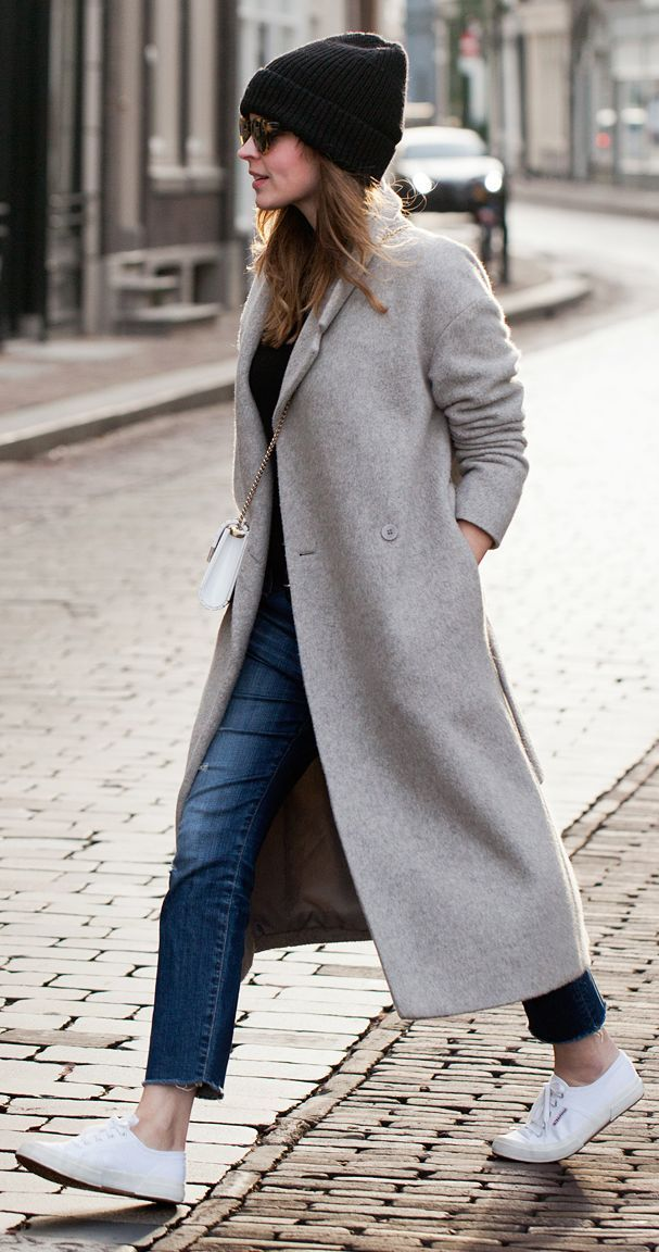 Grey Long Winter Coat by Fash n Chips