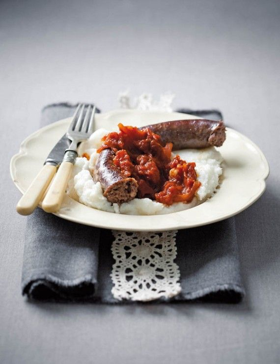 Ostrich Sausage with Pap and Smoor (Boerewors will work just as well!).