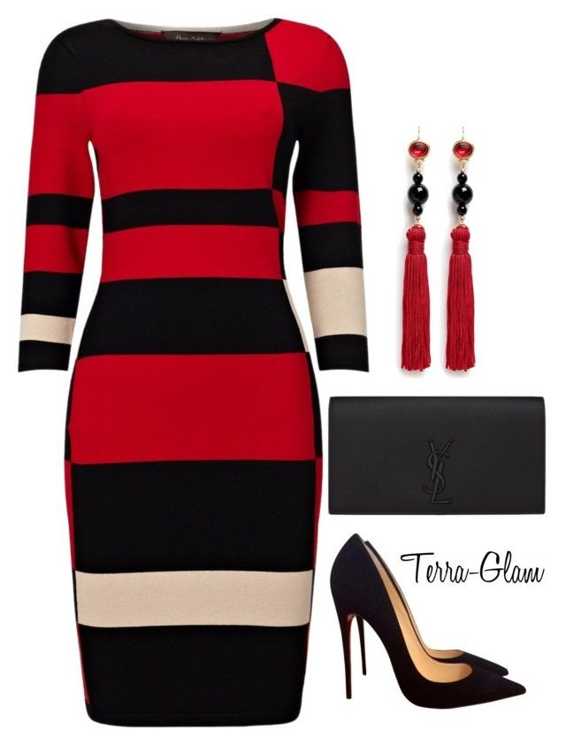 Red & Black Delight by terra-glam on Polyvore featuring polyvore fashion style Phase Eight Christian Louboutin Yves Saint Laurent Kenneth Jay Lane clothing