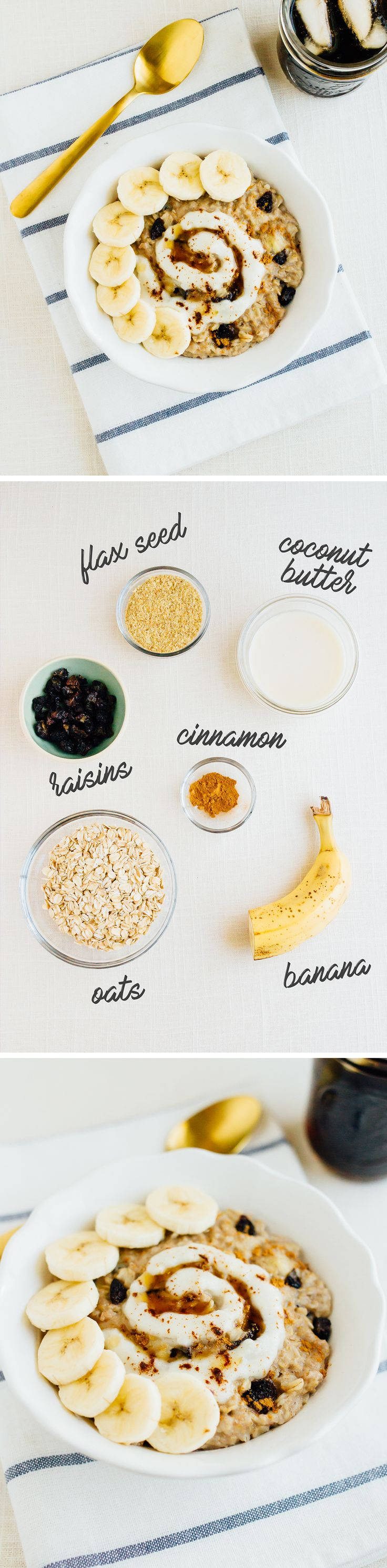 The BEST Cinnamon Raisin Oatmeal Recipe. A simple, yet healthy breakfast recipe that is perfect for weekdays. All clean eating ingredients are used for this healthy oatmeal recipe. Pin now to try later!