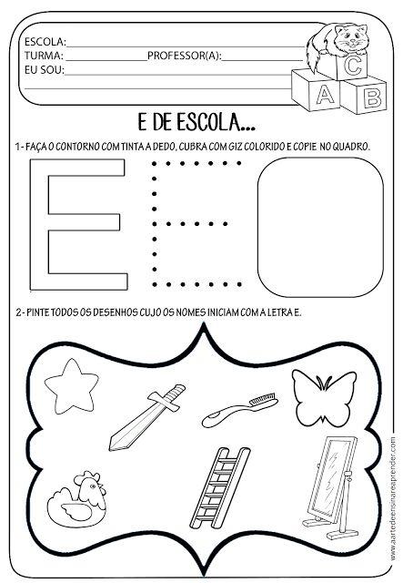 A Arte de Ensinar e Aprender: Atividade pronta - Letra E