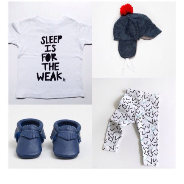 Outfit of the Day inspiration for boys. Little Hip Squeaks Mint Ballot Skinny Leggings, Freshly Picked Prince George Moccasins, Huckleberry Threads Sleep Is For The Week Tshirt, and Little Sun Hat Winter Blue Cap. www.littlesunhat.com