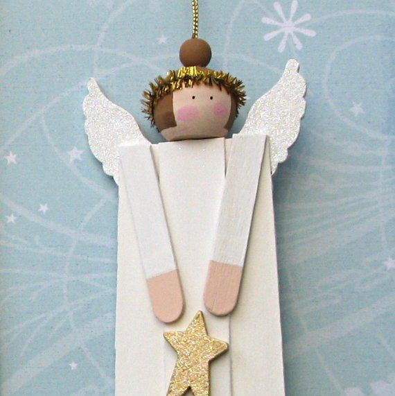 Set of three individually handcrafted wood angel ornaments are made from wood craft sticks, wooden beads, and other wooden components — then
