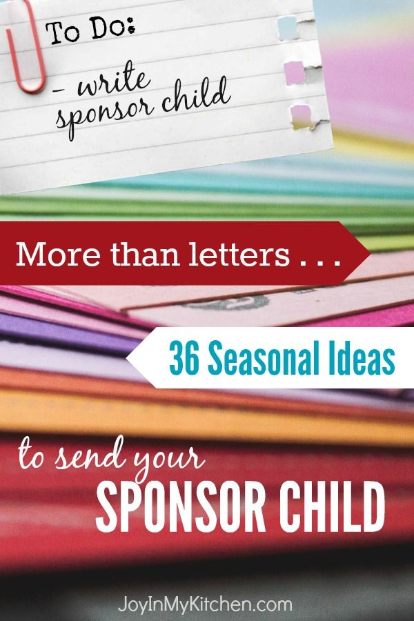 Do you or your kids have trouble writing letters to send your sponsor child? Have fun preparing one of these 36 seasonal projects to mail instead.